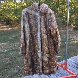 Roaman's Long Faux Mink Fur Hooded Coat 14/16